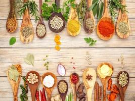 Border of spices and herbs in spoons