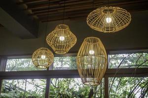 Handmade hanging wicker lampshades