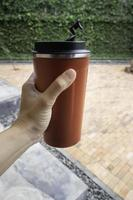 Personal brown thermos