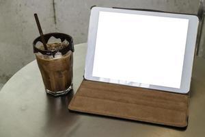 Mock up tablet in a cafe