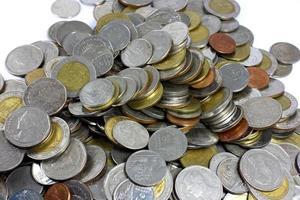 Thai Baht coins on white background photo
