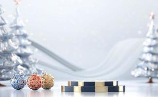maqueta de podio de escenario de navidad abstracto foto