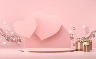 maqueta de podio de escenario hexagonal de san valentín foto