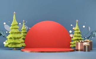 maqueta de podio de escenario abstracto de navidad foto