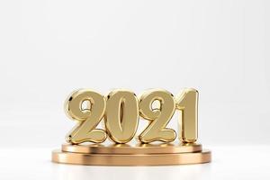 2021 tipografía de texto dorado