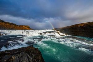 Rainbow and waterfalls against mountain scenery