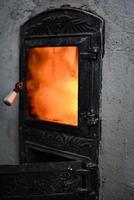 Indoor wood fire