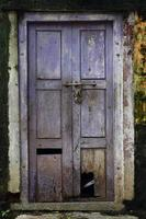 Old school building wooden door