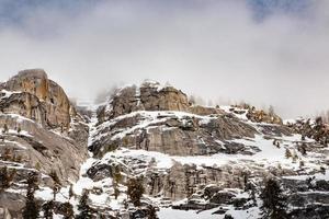 Snowy mountain range during winter