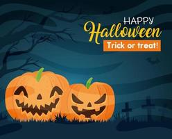 Happy Halloween banner with pumpkins in the cemetery vector