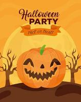 Happy Halloween banner with smiling pumpkin and dry trees vector