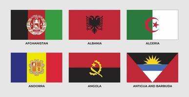 Flag of afghanistan, albania, algeria, andorra, angola, antigua and barbuda vector