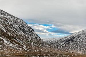 Snow covered hills in Iceland photo