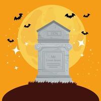 Happy Halloween banner with tombstone vector