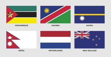 Flag of mozambique, namibia, nauru, nepal, netherlands, new zealand.