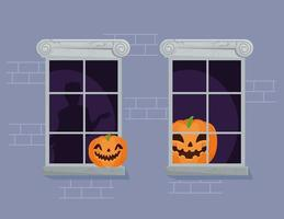 Happy Halloween banner with carved pumpkins on the windows