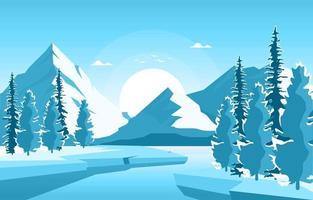 paisaje nevado de la naturaleza del invierno con montañas, lago congelado y árboles vector