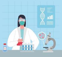 Investigación de vacunas médicas para coronavirus con médico en el laboratorio.