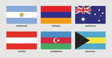 Flag of argentina, armenia, australia, austria, azerbaijan, bahamas. vector
