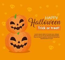 Banner de feliz halloween con calabazas sobre fondo naranja