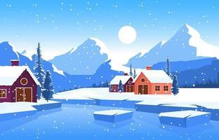 Acogedora escena de bosque de invierno con cabañas en el lago congelado vector