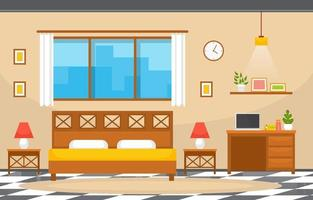 Cozy Hotel Bedroom Interior with Double Bed and Lamps vector