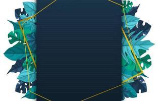Plantilla de fondo de polígono con marco de borde de hojas tropicales vector