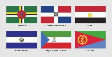 Flag of Dominica, Dominican Republic, egypt, el salvador, equatorial guinea, eritrea. vector