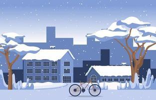 acogedora escena de invierno cubierto de nieve en la ciudad con casas, árboles y bicicletas vector