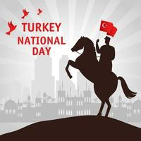 29 October, Turkish republic day with man in a horse with flag vector