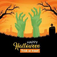 Happy Halloween banner with zombie hands in the cemetery vector