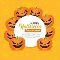 Happy Halloween banner with circular frame with pumpkins vector