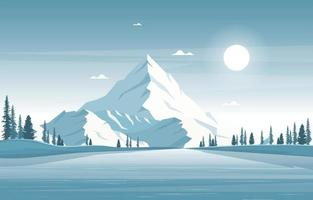Snowy Winter Landscape with Mountains, Frozen River, and Trees vector