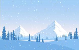 paisaje de invierno nevado con árboles, montañas y nevadas vector