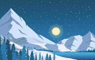 Snowy Winter Landscape with Trees, Frozen Lake, and Mountains vector