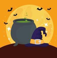 banner de feliz halloween con caldero, murciélagos volando y sombrero de bruja vector