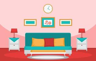 Cozy Bedroom Interior with Double Bed and Lamps vector