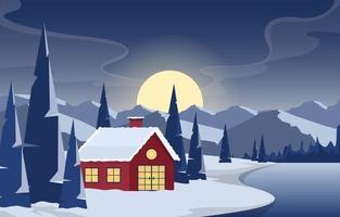 Acogedora escena de bosque de invierno con cabaña en el lago congelado por la noche vector