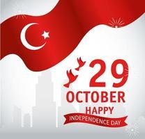 29 de octubre, día de la república turca con bandera y palomas volando. vector