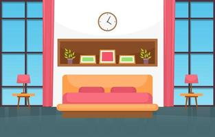 Cozy Bedroom Interior with Double Bed, Lamps and Windows vector