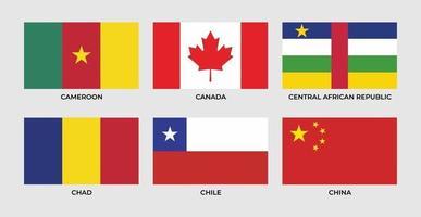 bandera de camerron, canadá, república centroafricana, chad, chile, china, vector