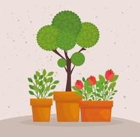 Cute potted plants vector