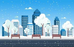 horizonte de la ciudad nevada en invierno vector