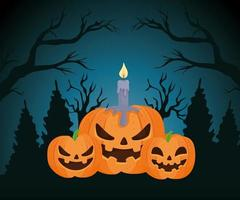 Happy Halloween banner with pumpkins at night vector