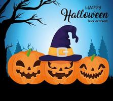 Happy Halloween banner with pumpkins and witch hat vector