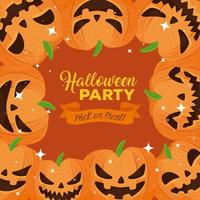 Happy Halloween party banner with frame of pumpkins vector