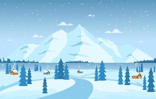 Cozy Winter Scene with Trees, Cottages, and Hills vector