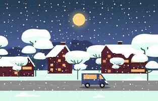 Cozy Snowy Winter City Scene with Trees, Homes, and Car vector