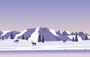 paisaje de invierno nevado con árboles, montañas y ciervos vector