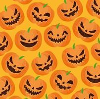 Fondo de patrón de feliz halloween con calabazas espeluznantes
